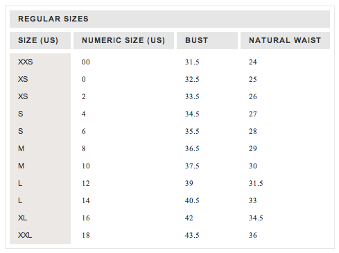 J crew size charts my size charts
