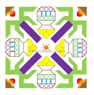7 Pongal kolam 19 x 19 dots