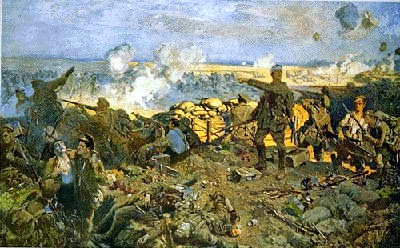 Colour painting of battlefield. Smoke rising, bodies on ground, wounded being carried off.