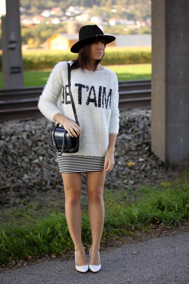 outfit-trend-fashionblogger-forever21-streifen-rock-pullover-jumper-wedges-mango-weste-vintage