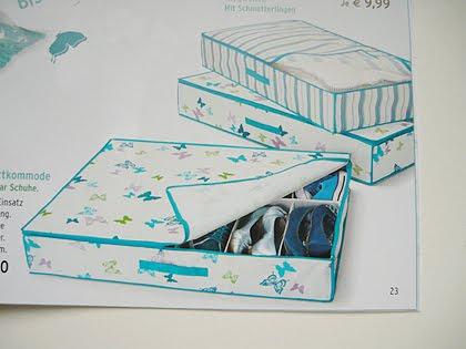 Unterbettboxen in Weiß, Türkis und mit Schmetterlingen