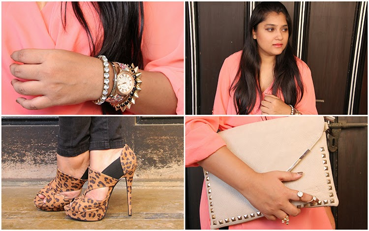 Peach tunic, arm party, animal print shoes