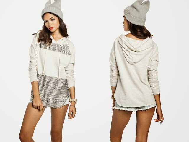 Mixed Knit Hoodie, white and grey hoodie, sweatshirt, hood, dailylook.com