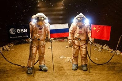 Mars500 With Flags of Russia and China