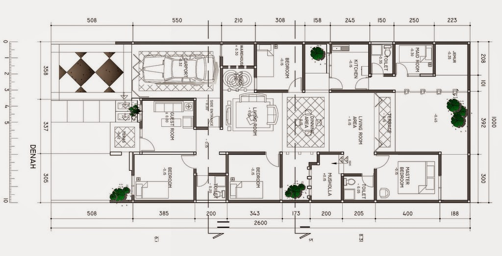 denah rumah minimalis type 80