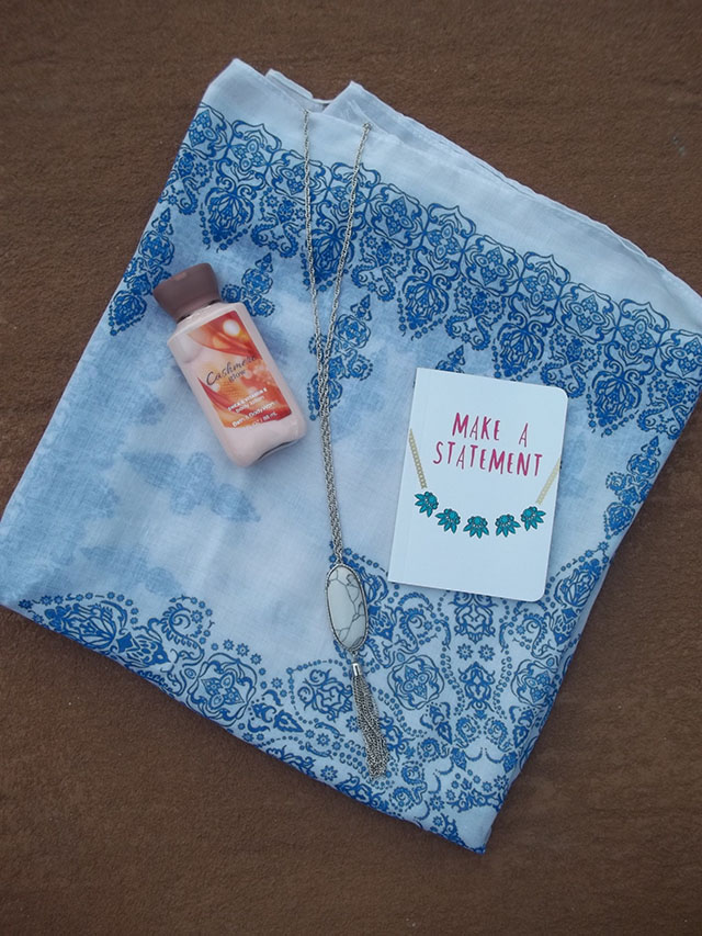 my blogiversary + an amazing giveaway full of my favorite things a beautiful blue patterned scarf a genuine howlite necklace an adorable notebook and a Cashmere Glow lotion