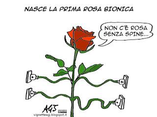 biotecnologie, bionica, rosa, tecnologia, satira, vignetta