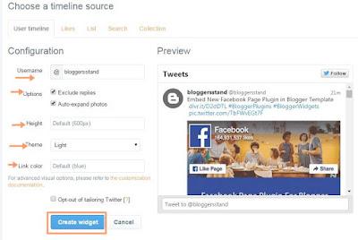 twitter timeline widget area