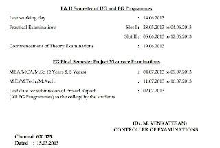 Anna univ pg april may june exam 2013 practical dates