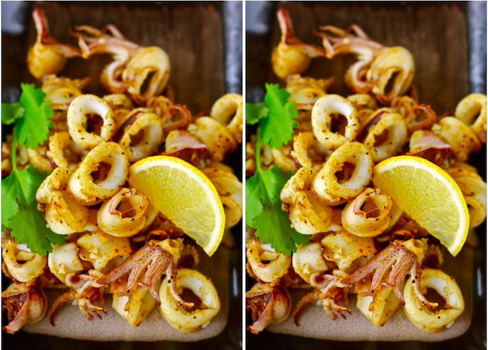 grilled calamari with cumin season with spice