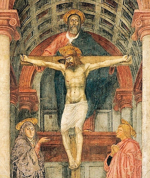 Close-up view of Masaccio's 'The Trinity' shows the Father existing on multiple planes at the same time. This photo only: WikiMedia.org.