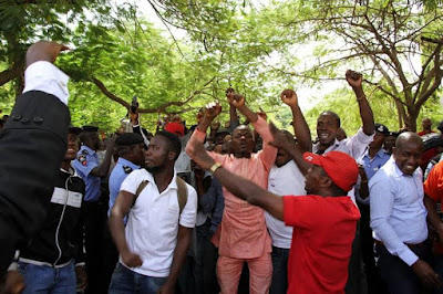 nnadi kanu supporters outside the court room
