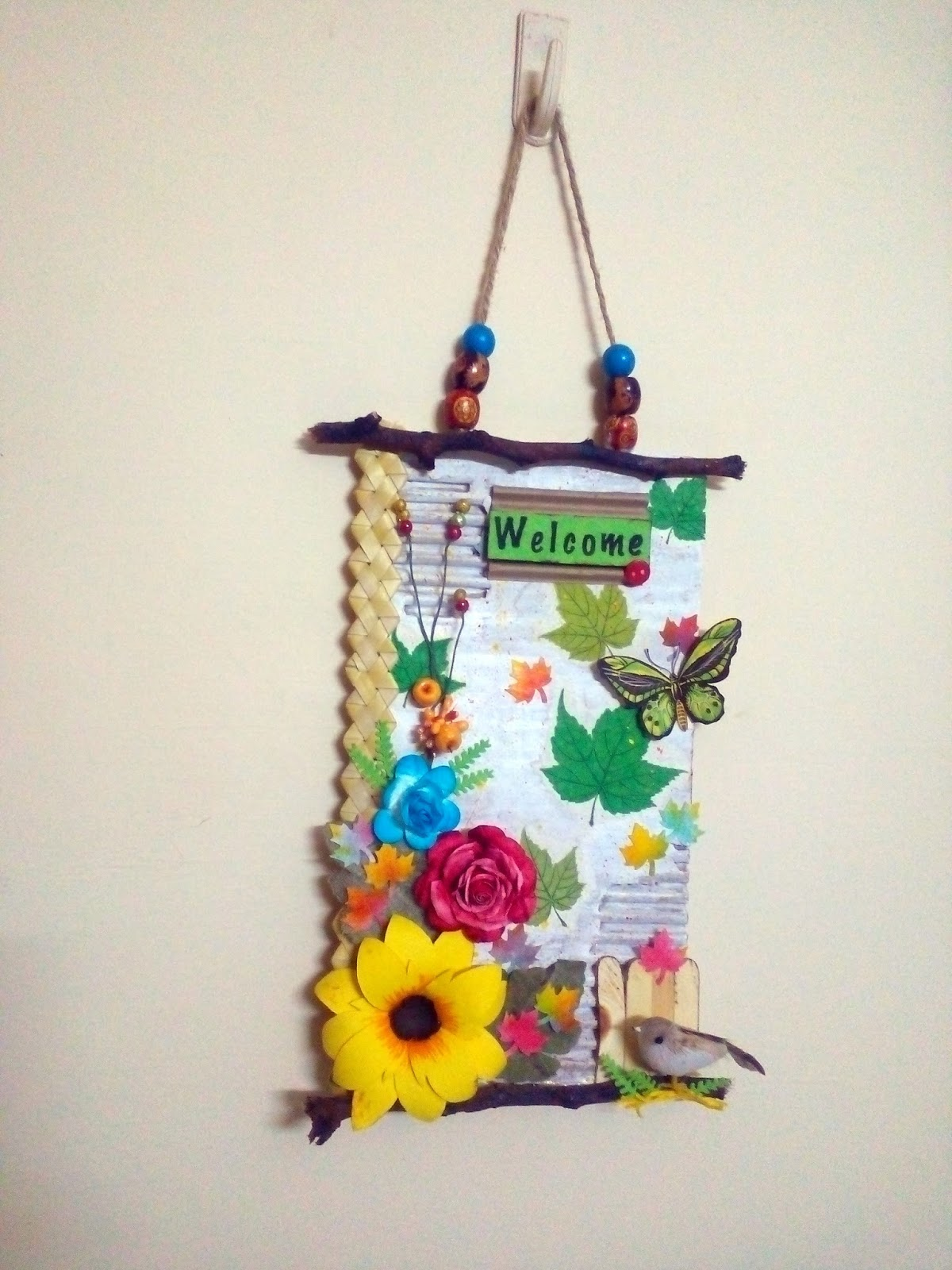 Shining colours handmade crafts welcome wall hanging for New handmade craft ideas
