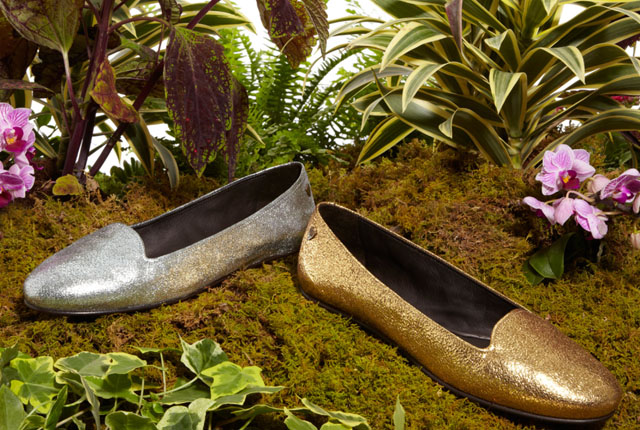 gold and silver slipper flats