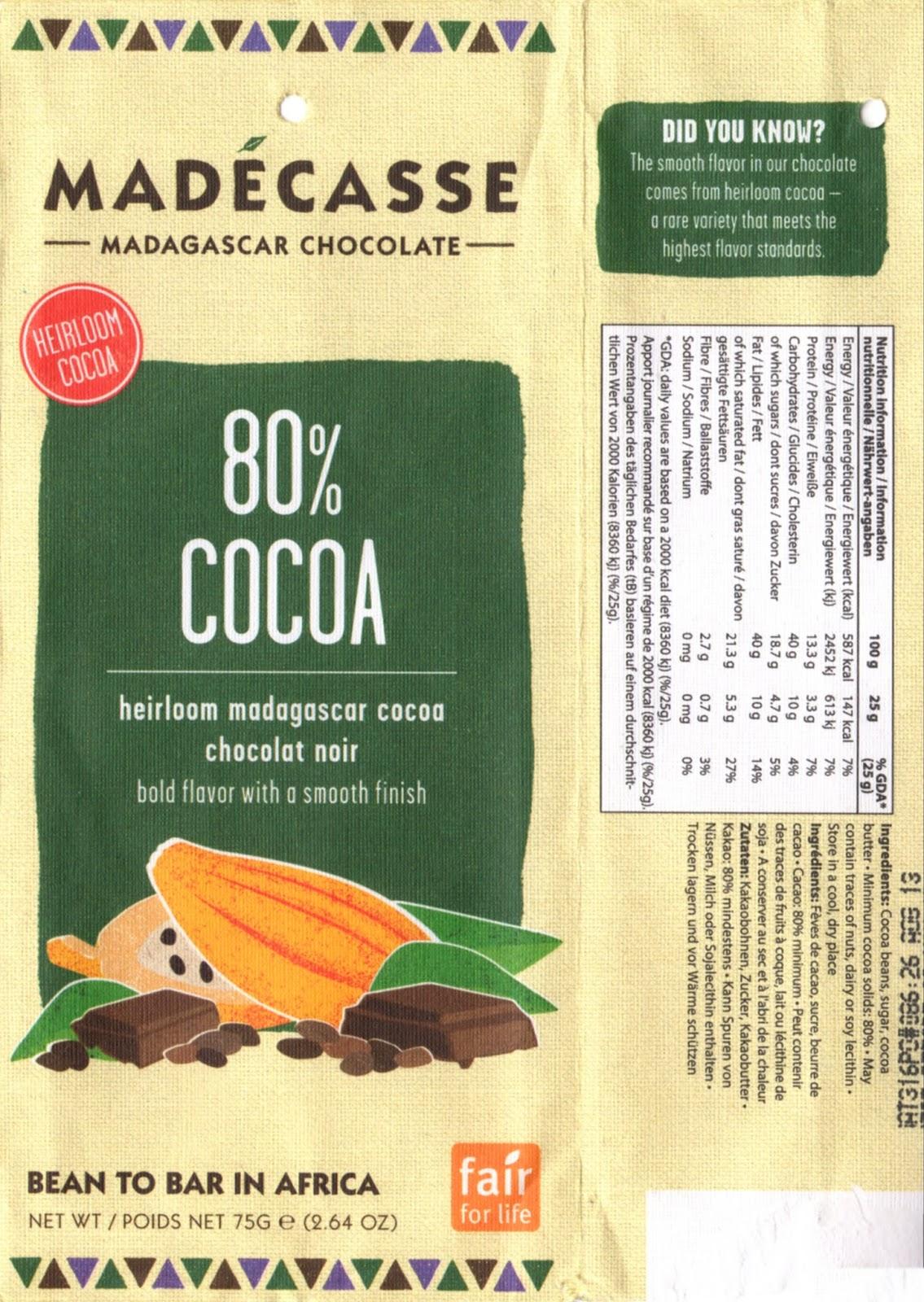 tablette de chocolat noir dégustation madécasse dark cocoa 80