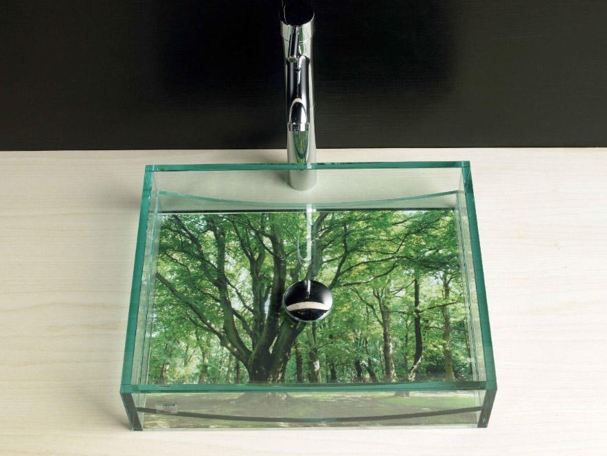 Does Glass Sink : Glass Sink Basin Options With Fish Or Objects Of Your Choice.