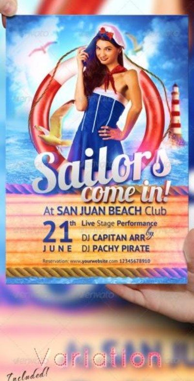 Sailor Party Flyer PSD template