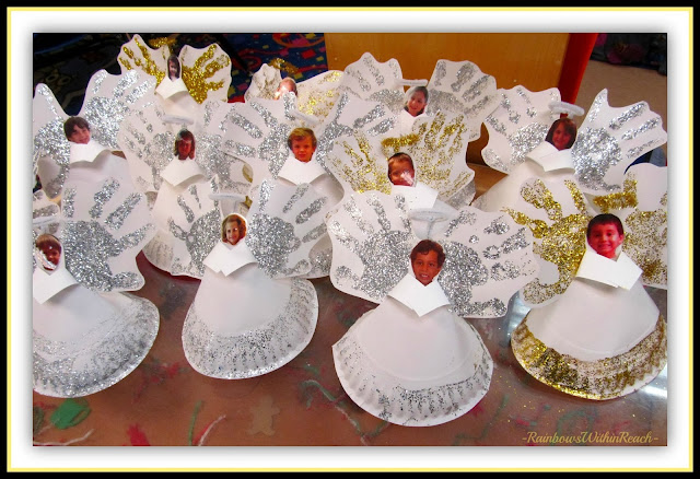 """Angels (Made from Paper Plates with Glitter Handprints) at """"PreK+K Sharing"""""""