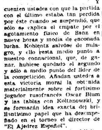 Artículo sobre el Torneo Internacional de Ajedrez del Madrid F.C. 1936 en El Sol 26-5-1936