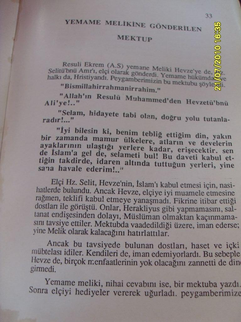 Islam Tarihi Peygamberin Gönderdiği Tebliğ Mektuplari