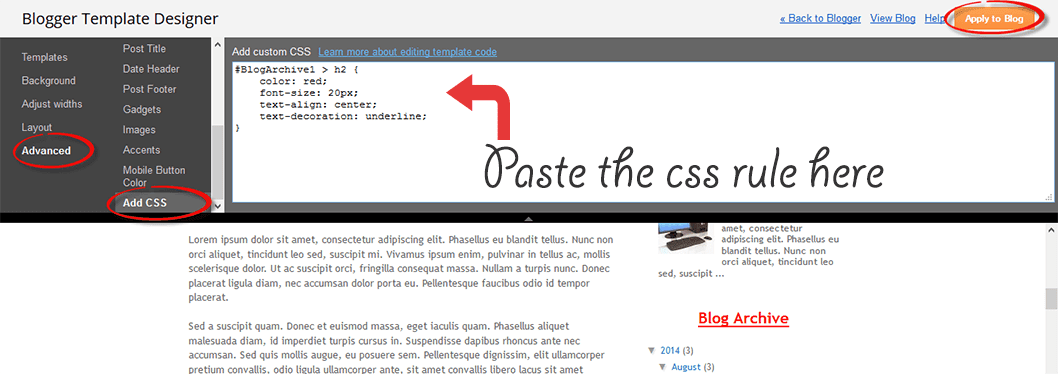 add firebug css to blogger template
