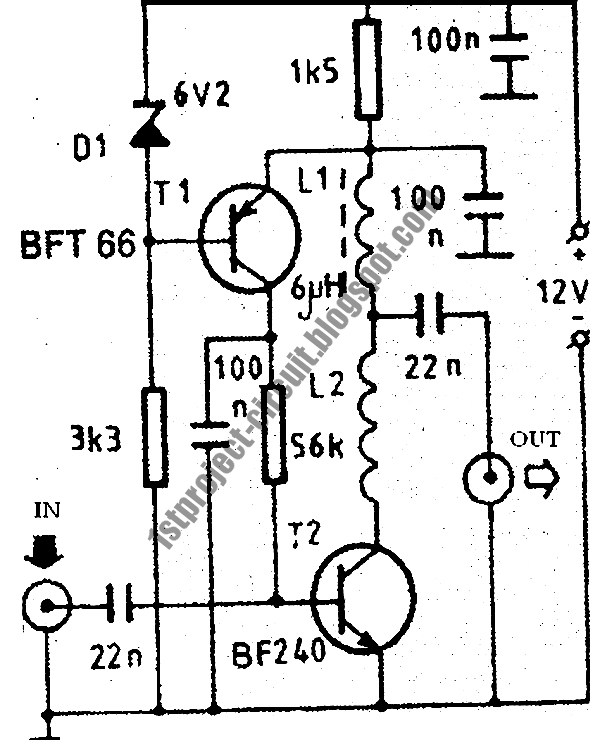high gain tv antenna circuit diagram images project circuit design vhf antenna amplifier circuit using bft66