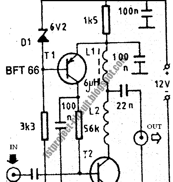 project circuit design  vhf antenna amplifier circuit using bft66 transistor