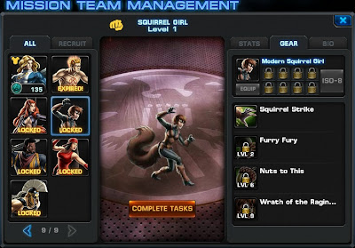 Gear page for Squirrel Girl at Marvel: Avengers Alliance