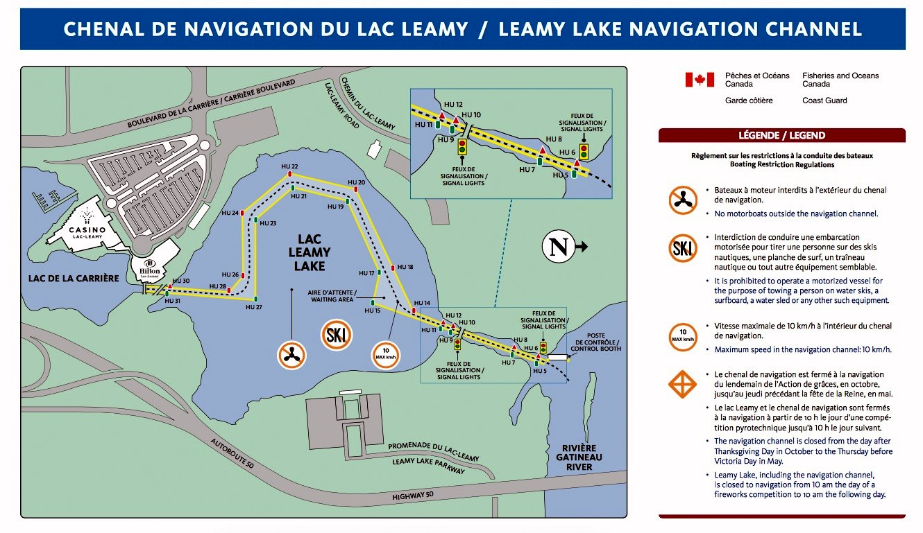 the transformation is to be seen on this map of the leamy lake navigation canal laid out to provide boat water access to the casino du lac leamy