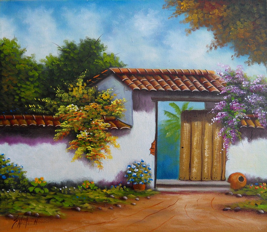 De la serie paisajes colombianos casas coloniales gabriel - Paisajes de casas ...