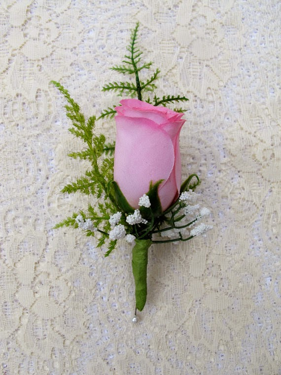 Silk wedding flowers bouquets oh my how to make super easy pin with crystal or pearl on end to attach to suit or dress mightylinksfo