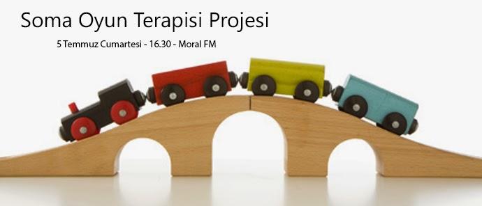 5 Temmuz 2014 Cumartesi günü Moral FM'de Mavi Dünya programının konuğu oluyorum. Programda Yeryüzü Doktorları ve Pedagoji Derneği ile işbirliği içinde yürüttüğümüz Soma Oyun Terapisi projesinde yaptıklarımızı ve yapamadıklarımızı konuşacağız.