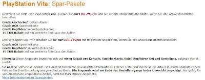 PS Vita 3G-Bundle bei Amazon: Konsole, 8 GB Speicherkarte, Kopfhörer, Uncharted: Golden Abyss und 15€ Rabatt auf weiteres Spiel für 291,98 Euro