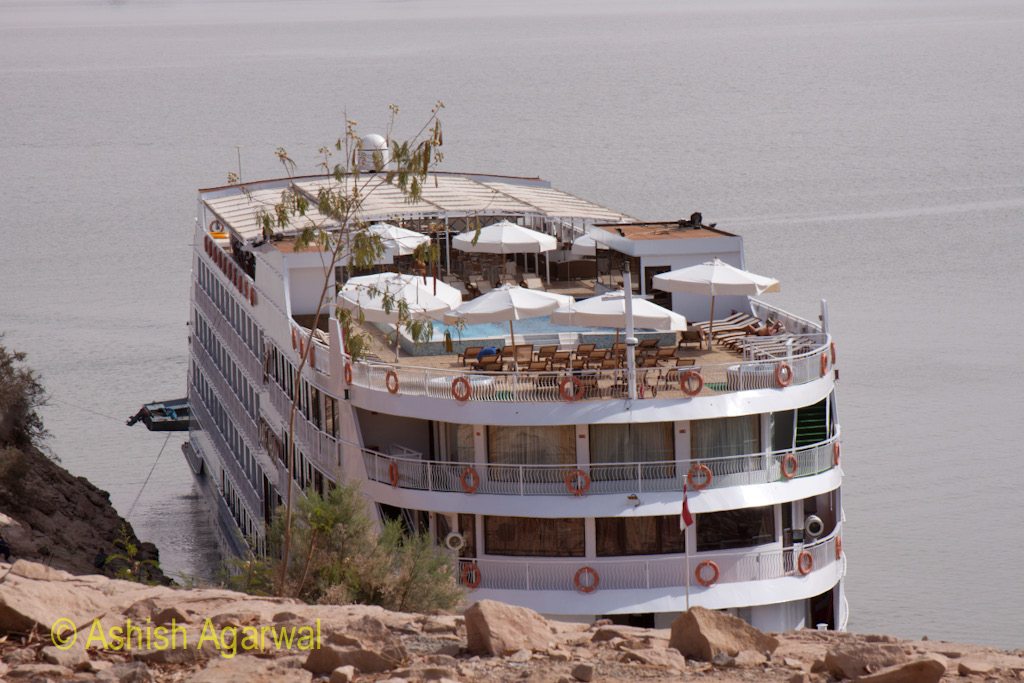 Cruise ship, from Aswan, at the Abu Simbel temple in South Egypt