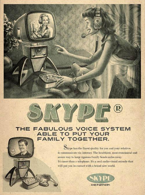 anúncios vintage - produtos modernos - Skype