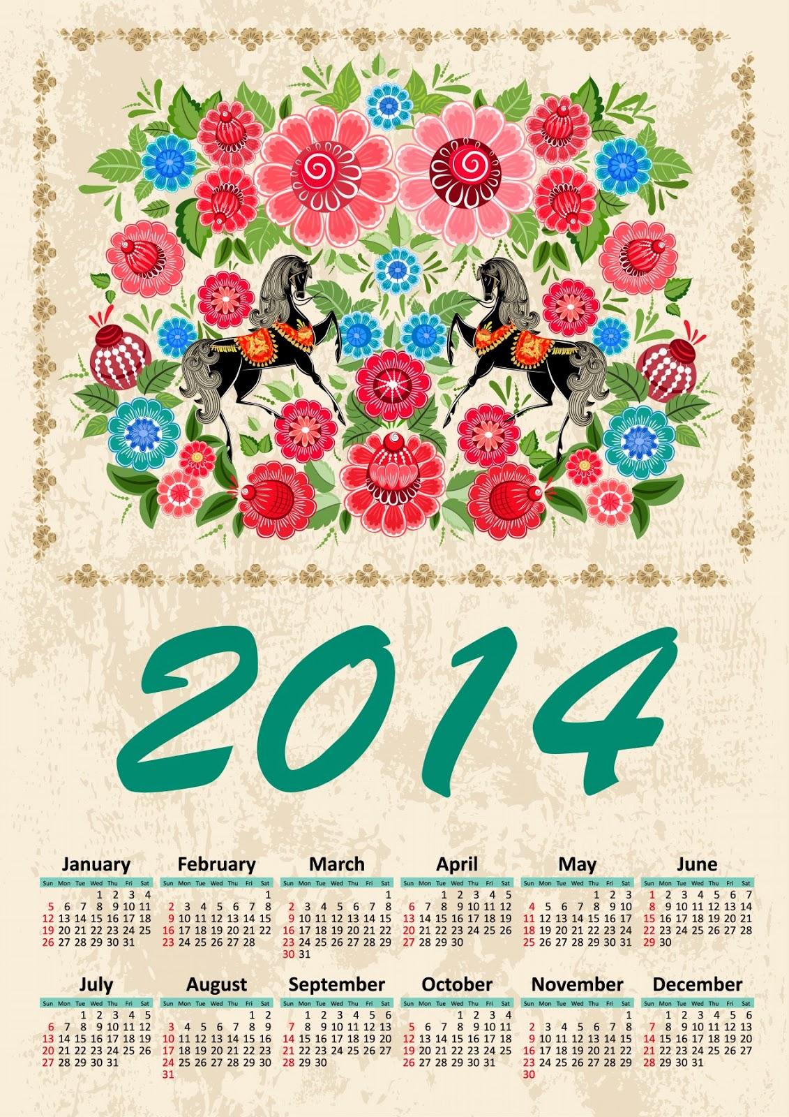 horses Flowers 2014 Calendar