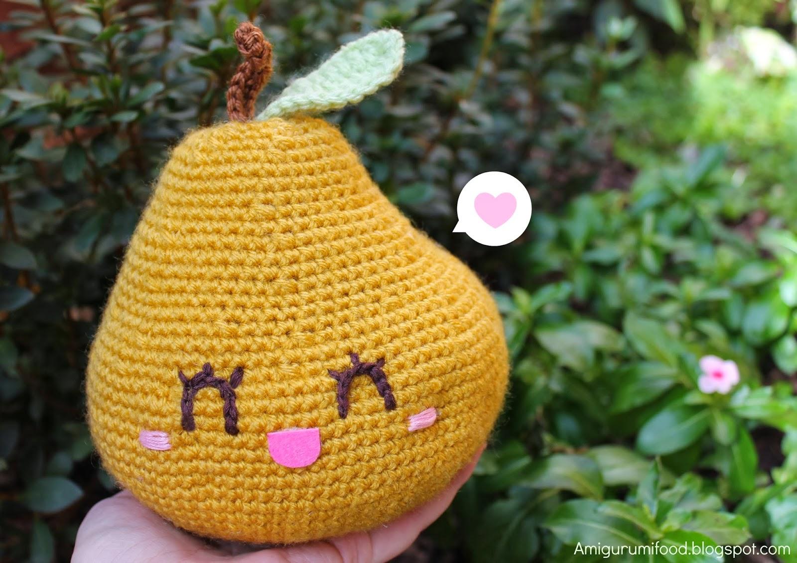 Amigurumi Food : Amigurumi Food: Big Happy Pear Amigurumi!!