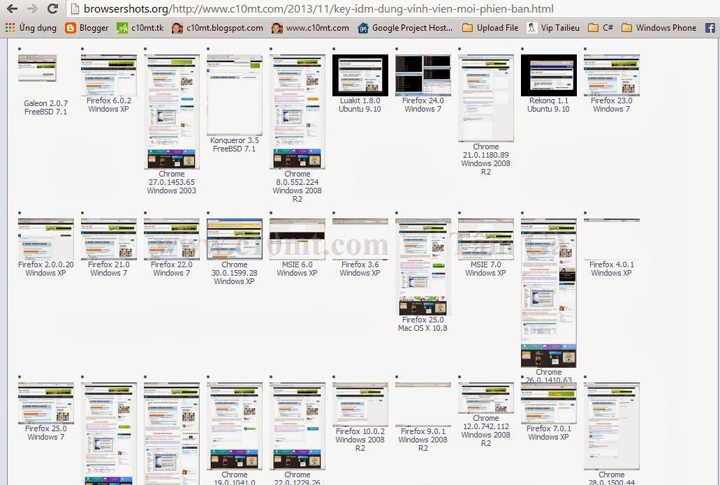 Browsershots Ping website online tới 200 trình duyệt | SEO Grey