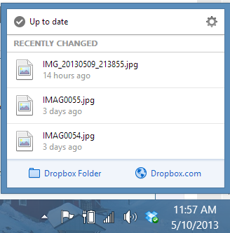 DropBox for Windows - Main Window