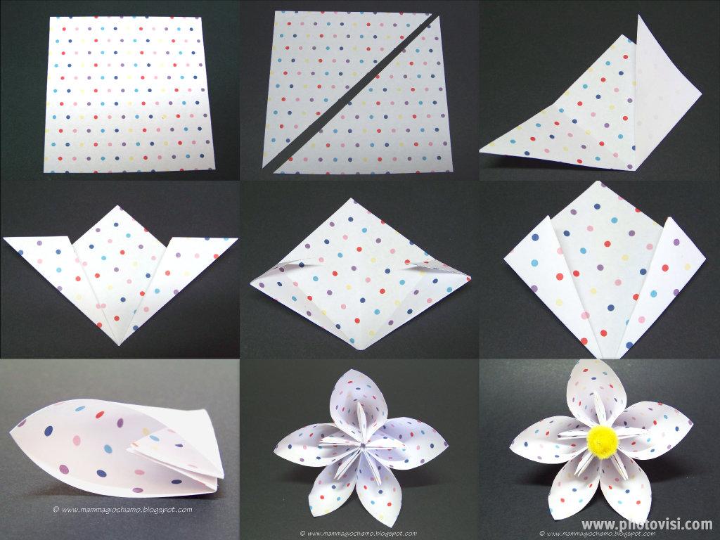 Lavoretti di pasqua/primavera: fiore di carta origami per la tavola