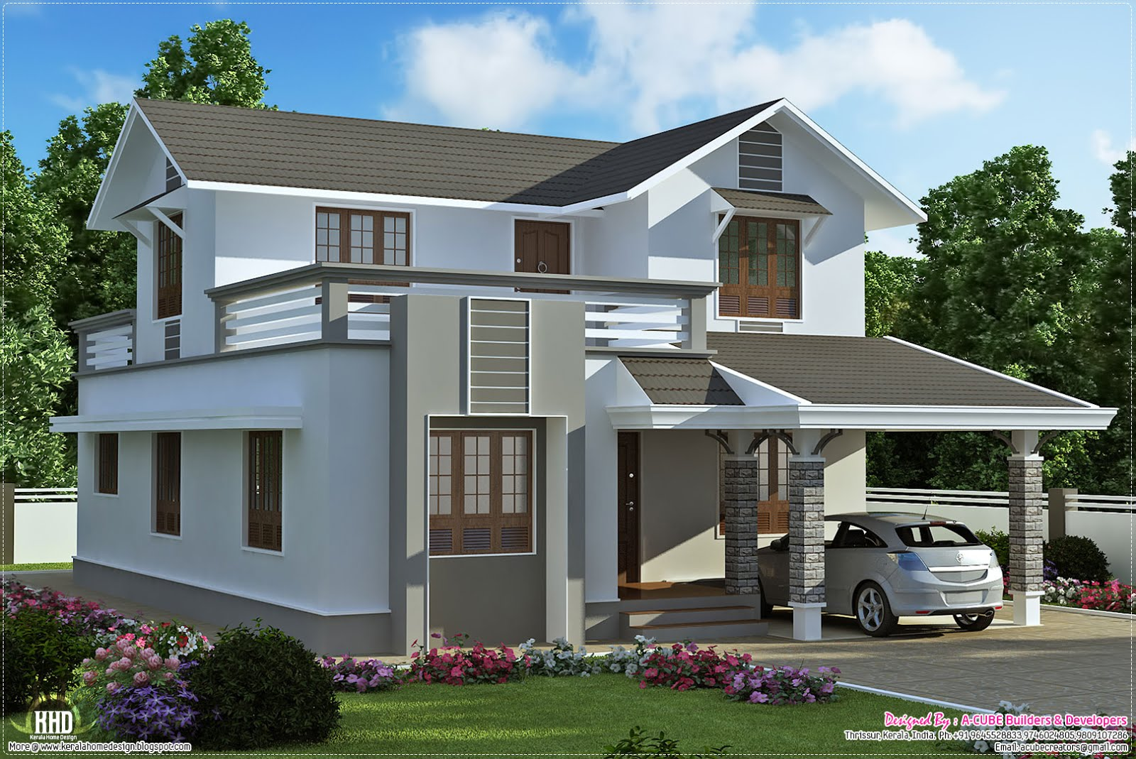 1900 2 storey villa plan kerala home design and Two storey house plans