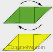 Bước 3: Xoay tờ giấy màu xanh một góc 90 độ vuông góc với tờ giấy màu vàng.