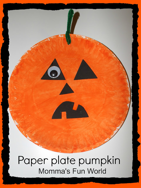 J  made a pirate pumpkin that is why it is missing one eye it has a patch....this is what he said to me.  sc 1 st  Mommau0027s Fun World - Blogger & Mommau0027s Fun World: Paper plate pumpkin