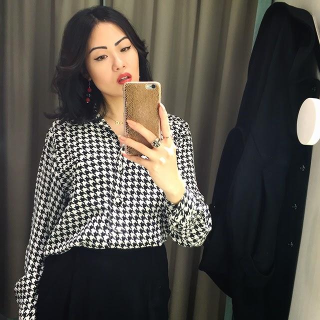 vintage houndstooth blouse