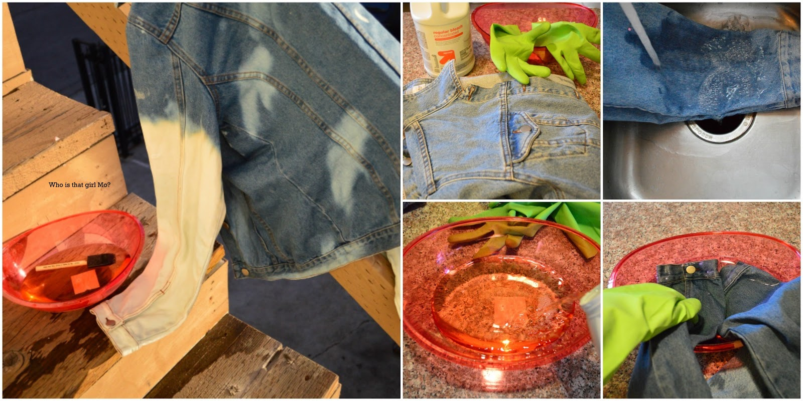 DIY bleached denim jacket tutorial pics {who is that girl mo?}