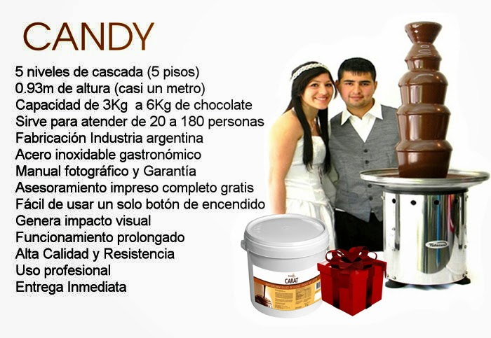 Cascada de chocolate modelo Candy 5 pisos  Sirve para atender de 20 a 180 Personas