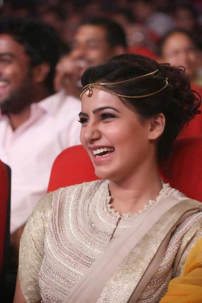 Actress Samantha In Twisted Bun Hairstyle