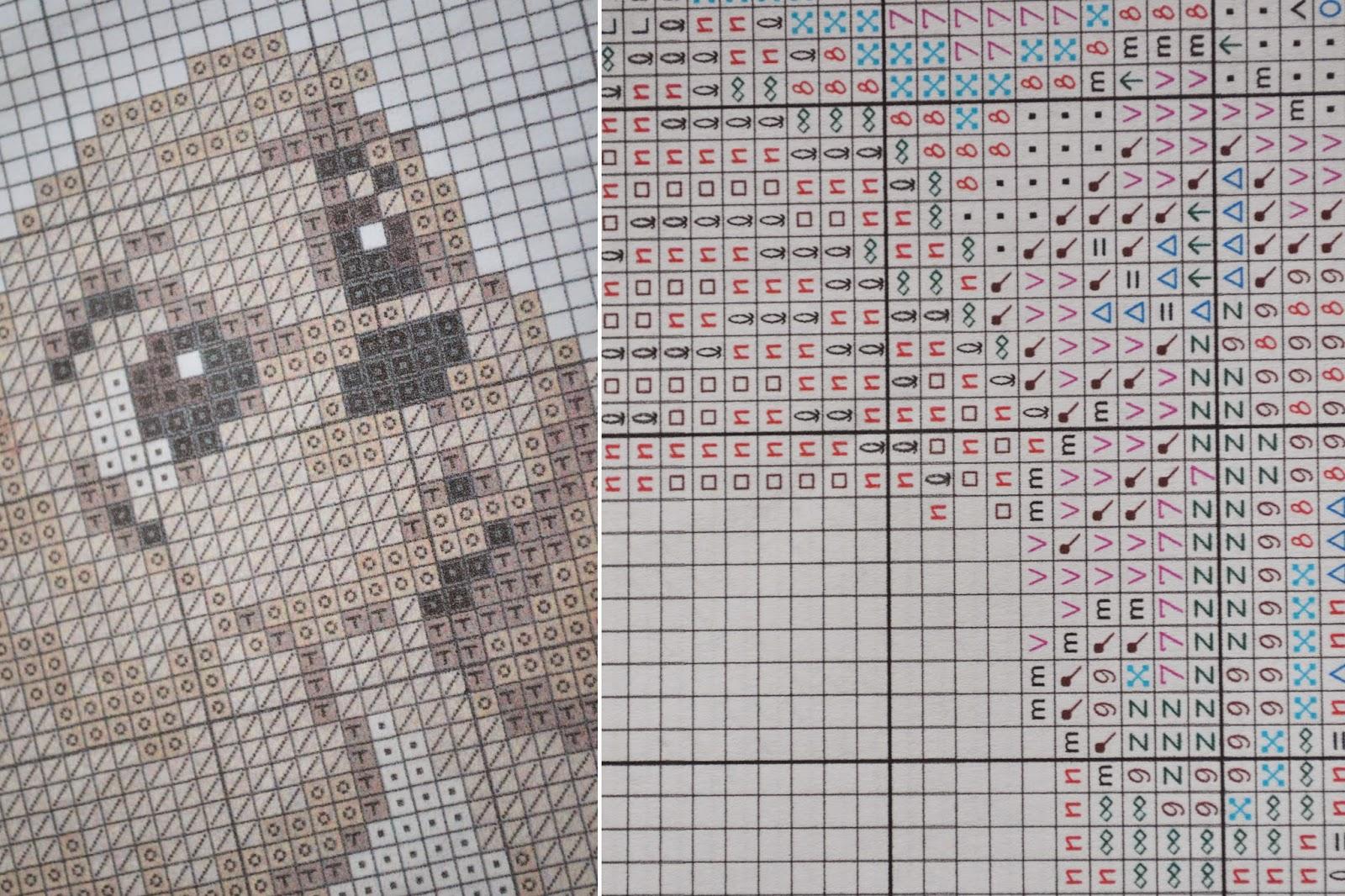 символьная схема, цветная схема, детальная схема вышивки