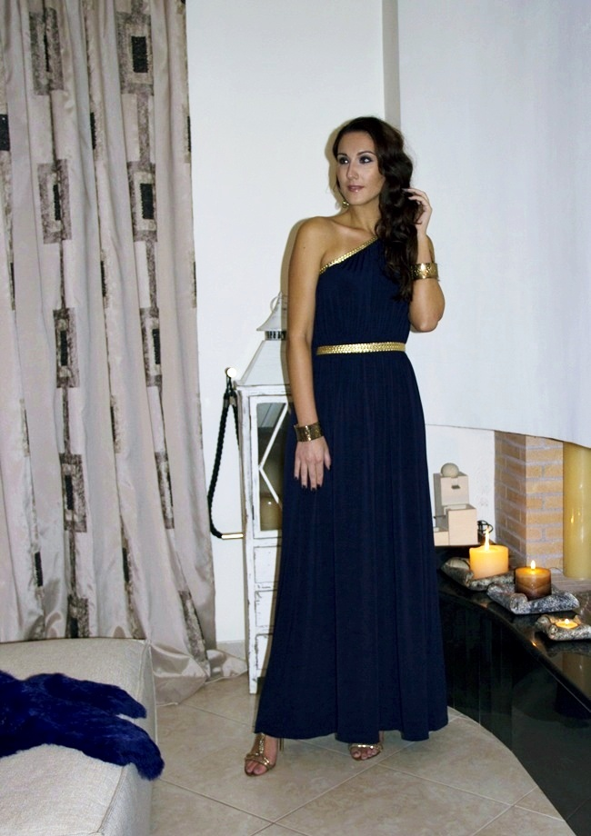 GCGme Kylie Navy One Shoulder Golden Braid Maxi Dress.Holiday festive looks.Grecian dresses.Svecani outfit.