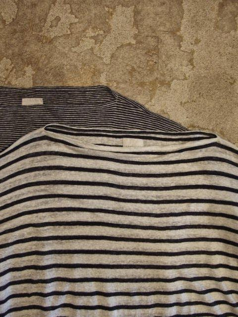 TOUJOURS Boat Neck Tunic Natural Over Dye Linen Border Jersey Spring/Summer 2014 SUNRISE MARKET